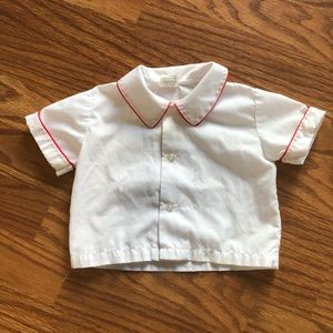 Vintage White Button Shirt With Red Trim 80s